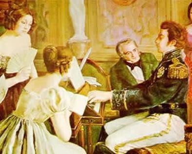 Pintura em que D. Pedro I realiza a execução da peça musical dedicada ao Hino da Independência.