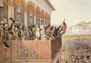 Aclamação de D. Pedro I (12/10/1822), por Debret. Esta foi, durante muito tempo, a imagem da independência do Brasil