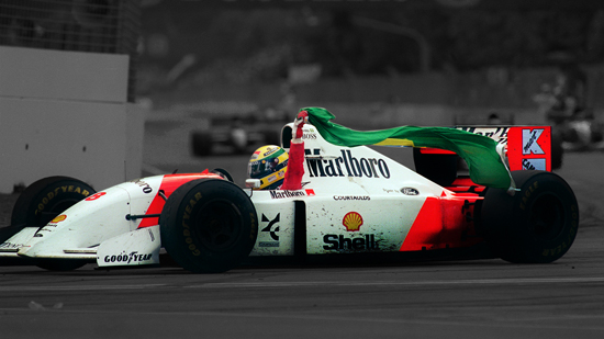 Brazilian Formula One champion Ayrton Senna takes