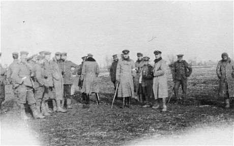 British and German troops meeting in No-Mans's Land during the unofficial truce on Christmas Day in 1914
