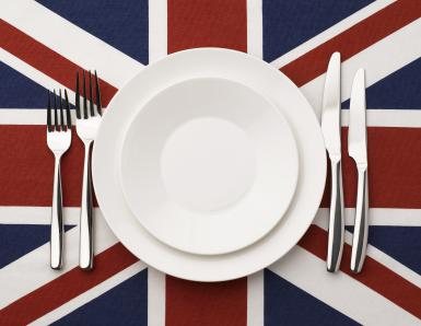 Plate, knife and fork on Union Jack