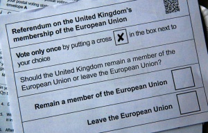 Illustration picture of postal ballot papers ahead of the June 23 referendum when voters will decide whether Britain will remain in the European Union